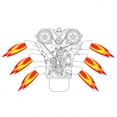 Internal combustion engine, with fire from the exh...
