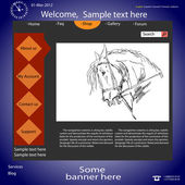 Vector template web site about horses