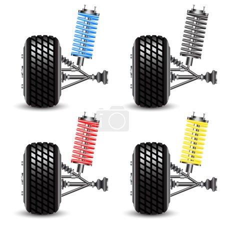 Set car suspension, frontal view.