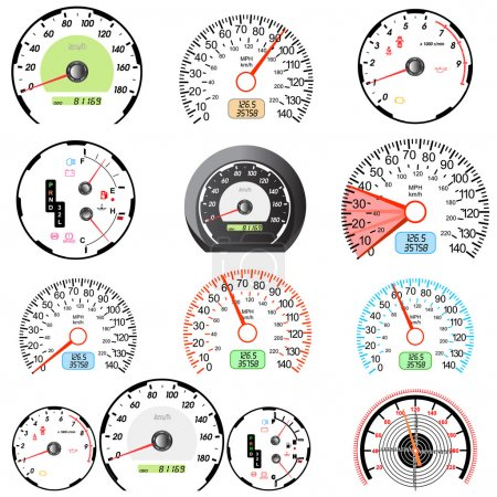 Set of car speedometers for racing design.