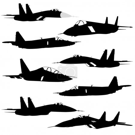 Collection of different combat aircraft silhouettes. vector ill