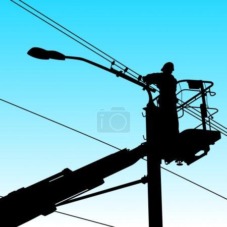 Illustration pour Électricien, faisant des réparations à un poteau électrique. Illustration vectorielle. - image libre de droit