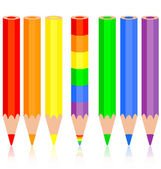 Set of colored pencil, a rainbow pencil near, vector illustratio