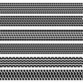 Set of detailed tire prints, vector illustration