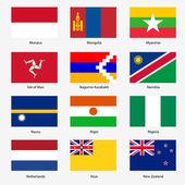 Set Flags of world sovereign states Vector illustration Set n