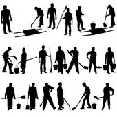 Set of black silhouettes of men and women with shovels and buckets Vector illustration