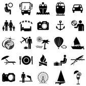 Kolekce ploché ikony. cestovní symboly. vektorové ilustrace