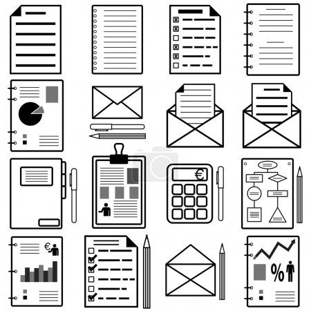 Illustration for Statistics and analytics file icons. Vector illustration. - Royalty Free Image