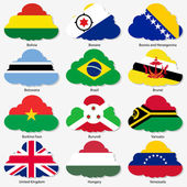 Set Flags of world sovereign states in form clouds Vector illustration Set number 3 Exact colors Easy changes