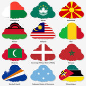 Set  Flags of world sovereign states in  form  clouds Vector il