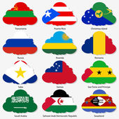Set Flags of world sovereign states in form clouds Vector illustration Set number 13 Exact colors Easy changes