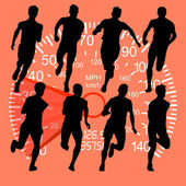 Set of silhouettes Runners on sprint men against the background of the speedometer vector illustration