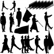 Silhouette military people collection. Vector illu...