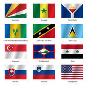 Set  Flags of world sovereign states Vector illustration