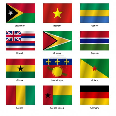 Set Flags of world sovereign states. Vector illust...