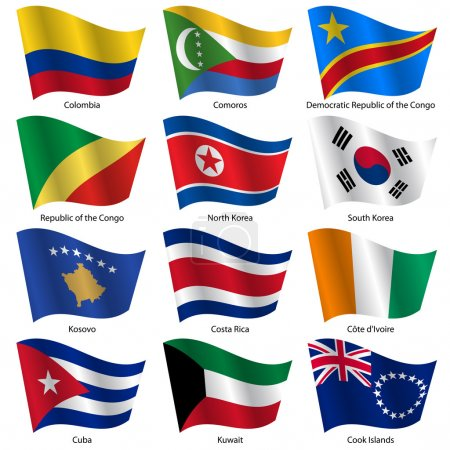 Illustration for Set Flags of world sovereign states. Vector illustration. Set number 8. Exact colors. Easy changes. - Royalty Free Image