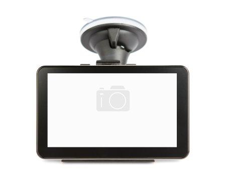 Photo pour Dispositif gps blanc isolé sur fond blanc avec un tracé de détourage pour l'écran - image libre de droit