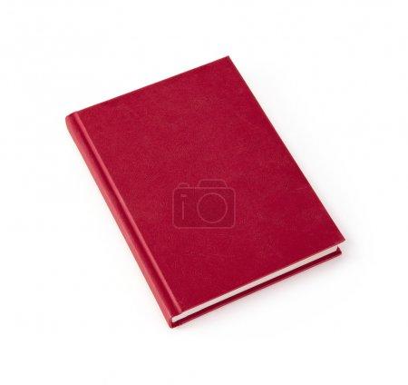 Photo pour Livre relié blanc rouge isolé sur fond blanc avec espace de copie - image libre de droit