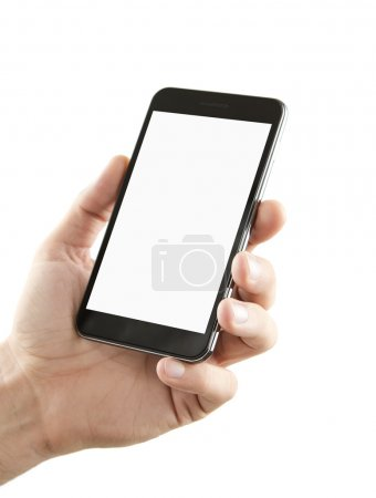 Photo for Male hand holding blank smart phone isolated on white background with clipping path for the screen - Royalty Free Image