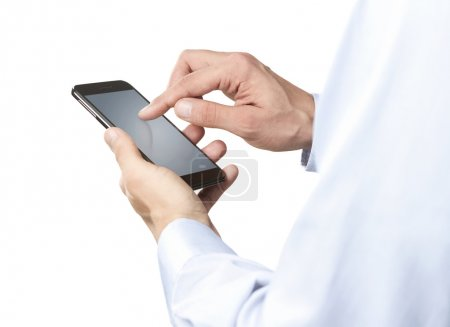 Close up of young man using smart phone