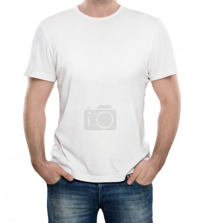 Photo for Man wearing blank t-shirt isolated on white background with copy space - Royalty Free Image