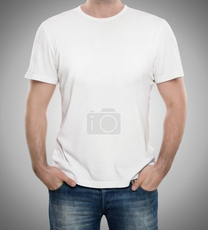 Photo for Man wearing blank t-shirt isolated on gray background with copy space - Royalty Free Image