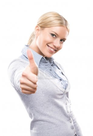 Photo for Happy attractive young woman showing thumbs up isolated on white background - Royalty Free Image