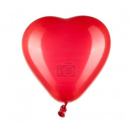 Red heart shaped balloon with clipping path