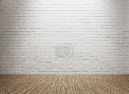 Photo for Empty room with spot lit brick wall - Royalty Free Image