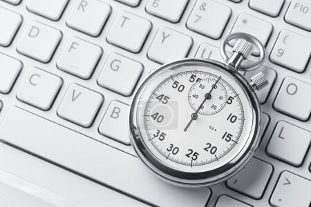 Stopwatch on a laptop keyboard