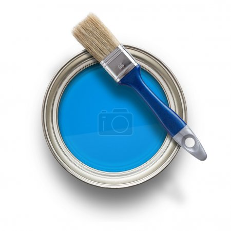 Photo for High angle view of blue paint can with brush isolated on white background - Royalty Free Image