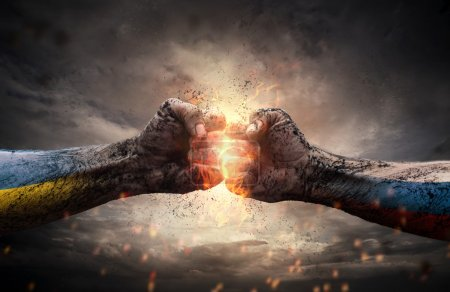 Photo for Close up of two fists hitting each other over dramatic sky - Royalty Free Image