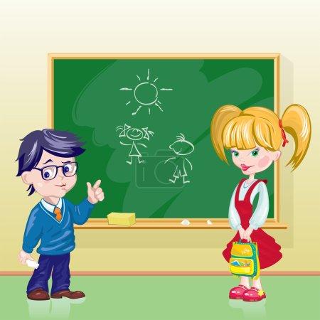 Illustration pour Garçon et fille dans la classe au tableau noir - image libre de droit