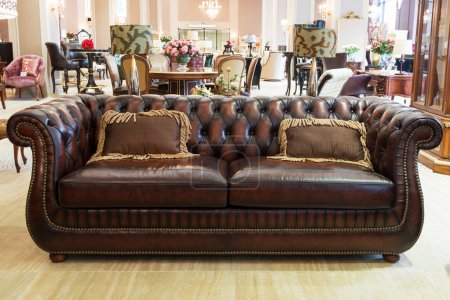 Classic leather sofa in a furniture store