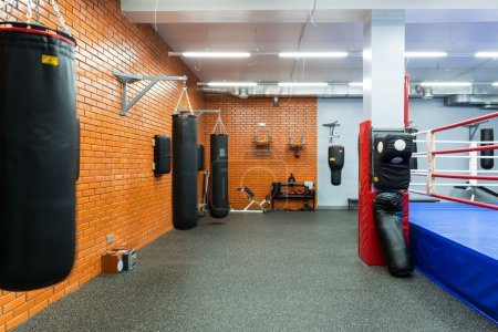 Empty hall for boxing in the gym