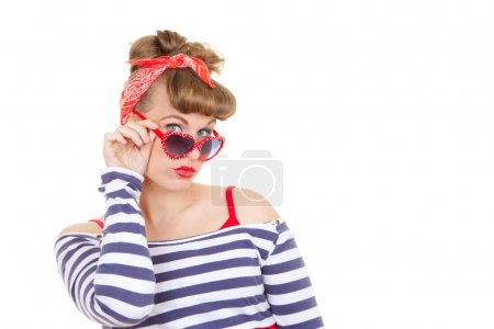 Photo for Retro pinup woman with sunglasses - Royalty Free Image