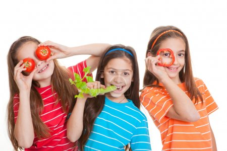 Photo for Healhty eating kids concept, children with vegetables - Royalty Free Image