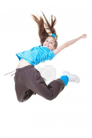 Photo for Child or kid jumping and dance - Royalty Free Image