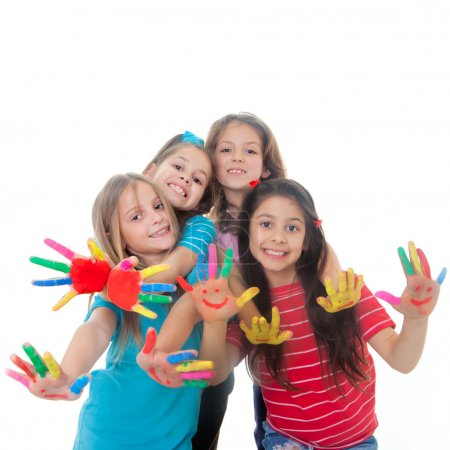 Photo for Group of happy children having fun with paint - Royalty Free Image