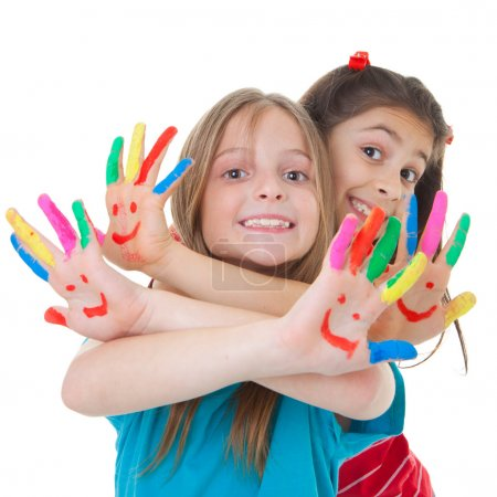 Photo for Happy smiling children playing with paint - Royalty Free Image
