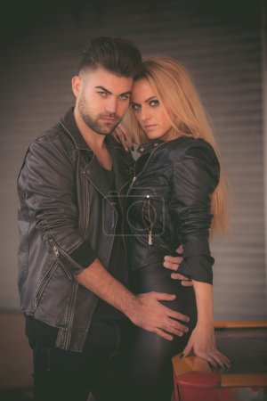 Photo for Fifties fashion couple in leather jackets, - Royalty Free Image