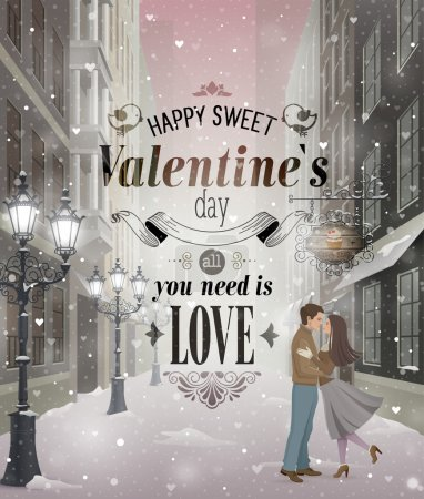 Illustration for Valentines Day greeting card - snowy romantic street. - Royalty Free Image
