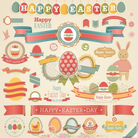 Photo for Easter scrapbook set - labels, ribbons and other elements. Vector illustration. - Royalty Free Image