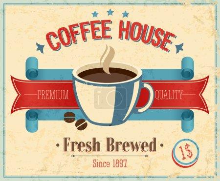Ilustración de Tarjeta de la casa de cosecha de café. ilustración vectorial - Imagen libre de derechos