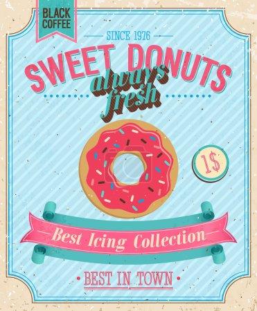Illustration pour Affiche de beignets vintage. Illustration vectorielle . - image libre de droit