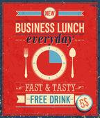 Vintage Bussiness Lunch Poster Vector illustration