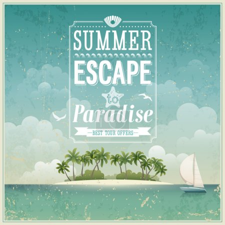 Photo for Vintage seaside view poster. Vector background. - Royalty Free Image