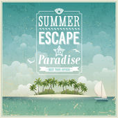 Vintage seaside view poster Vector background