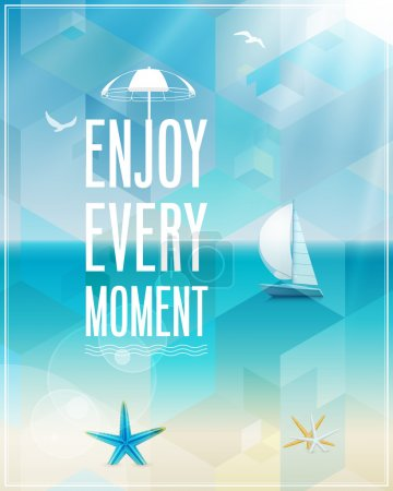 Illustration for Seaside view poster. Vector background. - Royalty Free Image
