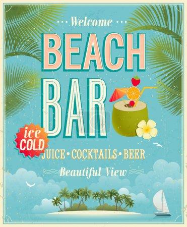 Illustration for Vintage Beach Bar poster. Vector background. - Royalty Free Image